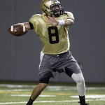 Army quarterback Trent Steelman (#8) throws a pass during practice in the Foley Athletic Center at the United States Military Academy in West Point, NY on Wednesday, August 4, 2010. Army opens it's 2010 season on the road against Eastern Michigan on Sept.