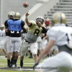Army starting quarterback Trent Steelman (#8) throws to a receiver during drills prior to their team scrimmage in Michie Stadium at the United States Military Academy in West Point, NY on Saturday, August 13, 2011. The Army Black Knights open the 2011 sea