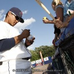 Hudson Valley Renegades shortstop Juniel Querecuto (#1) signs autographs for young fans prior to their game against the Batavia Muckdogs at Dutchess Stadium in Wappingers Falls, NY on Tuesday, August 2, 2011.  CHET GORDON/Times Herald-Record