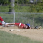 Goshen shortstop Tyler Eisenbacher (#2) dives but is unable to stop a base hit by Burke batter Stephen Cushing during their Boys Varsity baseball game against Burke in Goshen, NY on Tuesday, May 14, 2013.  CHET GORDON/Times Herald-Record